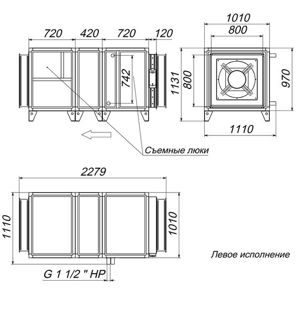 Габаритные и присоединительные размеры Breezart 12000 Aqua