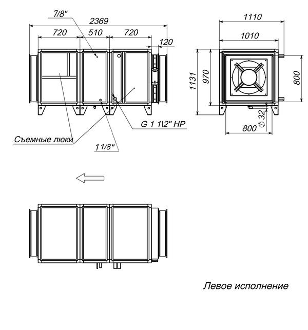 Габаритные и присоединительные размеры Breezart 12000 Aqua F