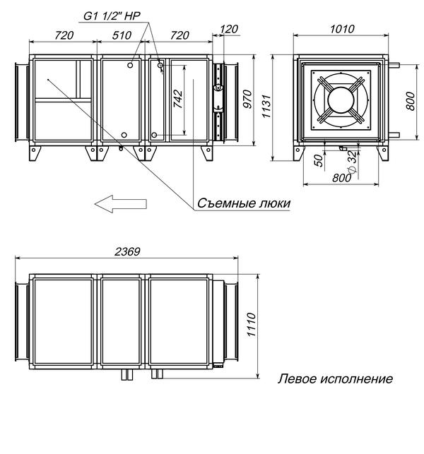 Габаритные и присоединительные размеры Breezart 10000 Aqua W