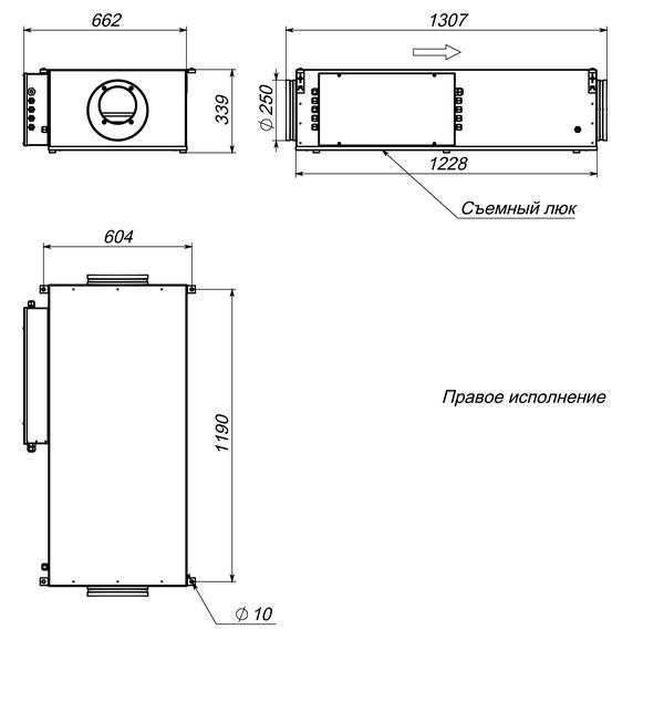 Габаритные и присоединительные размеры Breezart 1000 Lux
