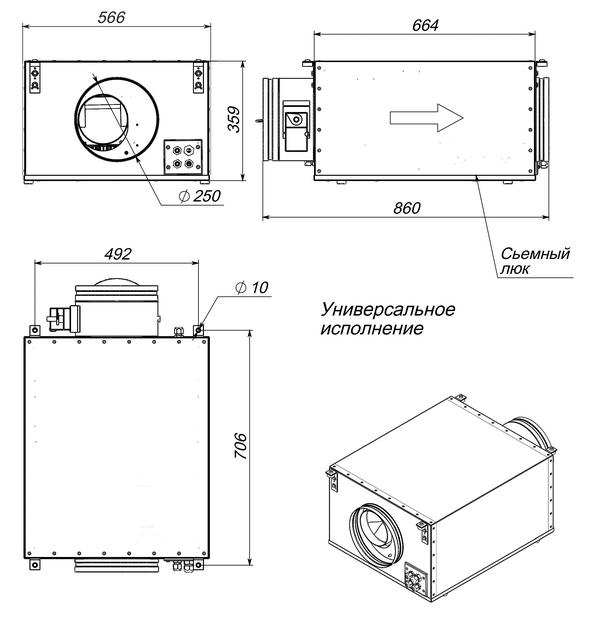 Габаритные и присоединительные размеры Breezart 1000 Lux PTC