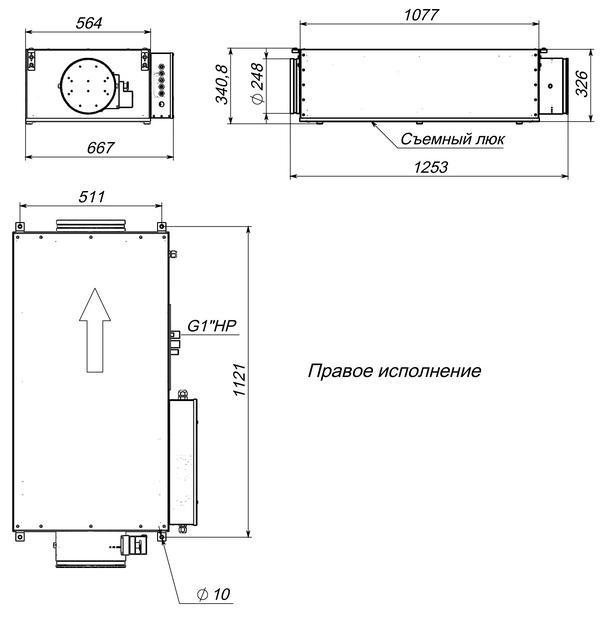 Габаритные и присоединительные размеры Breezart 1000 Lux W PTC
