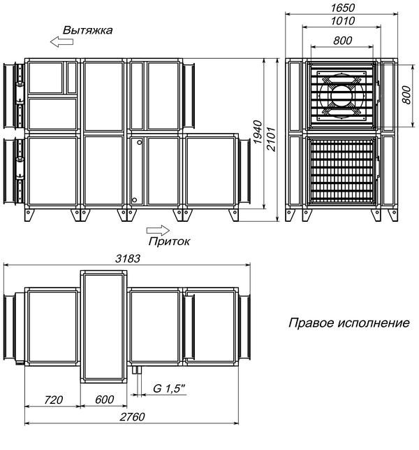 Габаритные и присоединительные размеры Breezart 10000 Aqua RR