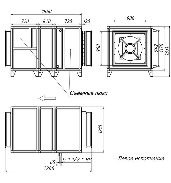 Габаритные и присоединительные размеры Breezart 16000 Aqua