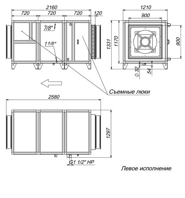Габаритные и присоединительные размеры Breezart 16000 Aqua F