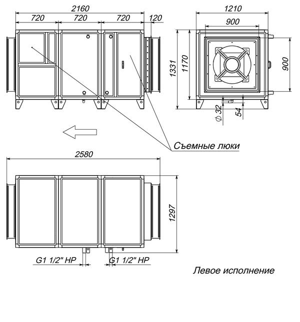 Габаритные и присоединительные размеры Breezart 16000 Aqua W