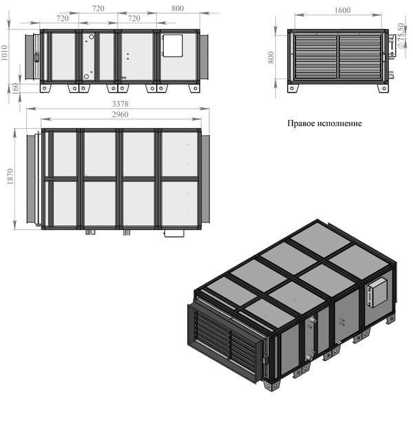 Габаритные и присоединительные размеры Breezart 20000 Aqua F