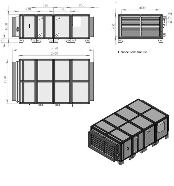 Габаритные и присоединительные размеры Breezart 20000 Aqua W