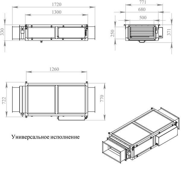 Габаритные и присоединительные размеры Breezart 2000 Lux