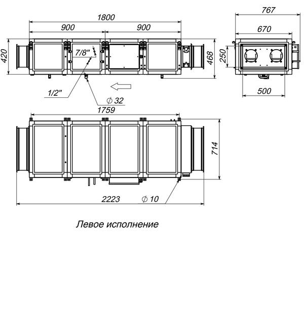 Габаритные и присоединительные размеры Breezart 2000 Lux F