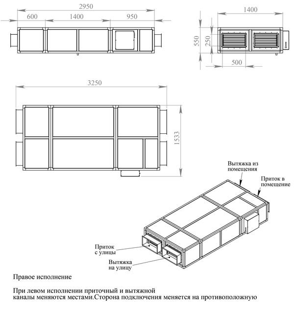 Габаритные и присоединительные размеры Breezart 2000 Lux RP SB