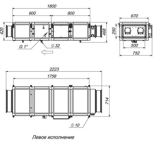 Габаритные и присоединительные размеры Breezart 2000 Lux W