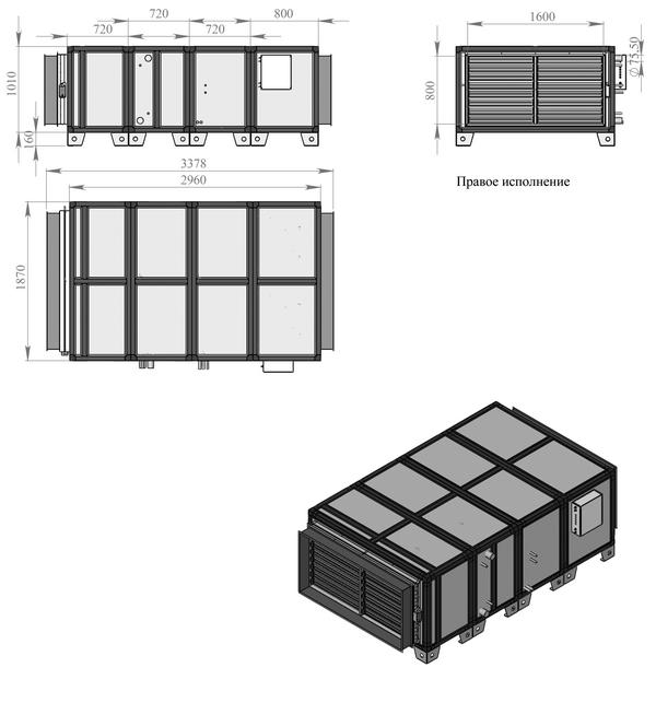 Габаритные и присоединительные размеры Breezart 25000 Aqua F