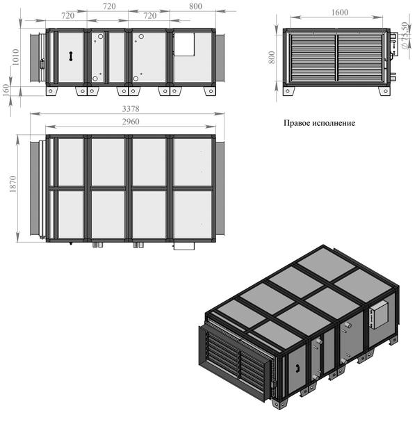 Габаритные и присоединительные размеры Breezart 25000 Aqua W