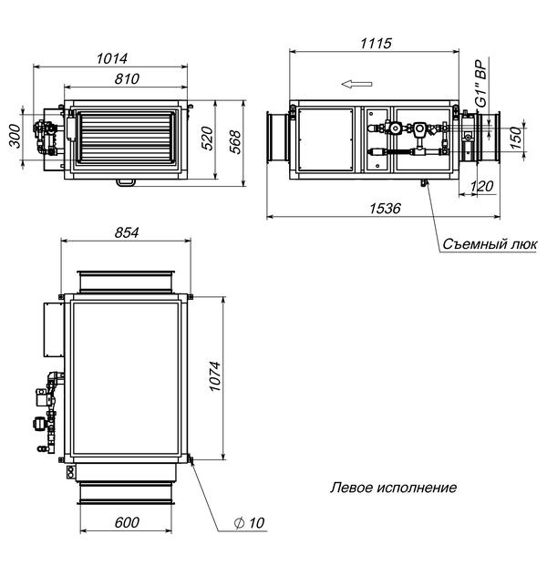 Габаритные и присоединительные размеры Breezart 2500 Aqua