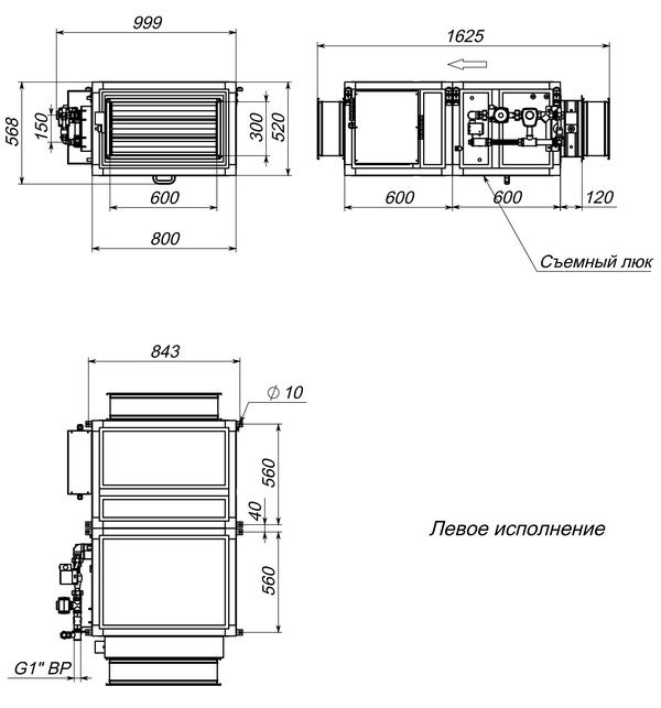 Габаритные и присоединительные размеры Breezart 2700 Aqua