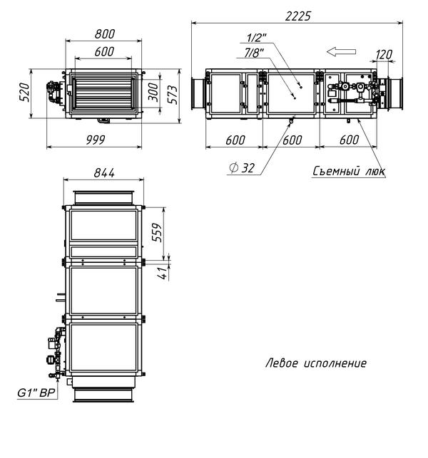 Габаритные и присоединительные размеры Breezart 2700 Aqua F