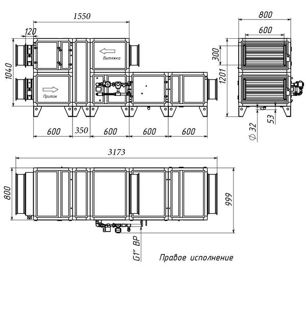 Габаритные и присоединительные размеры Breezart 2700 Aqua RR F