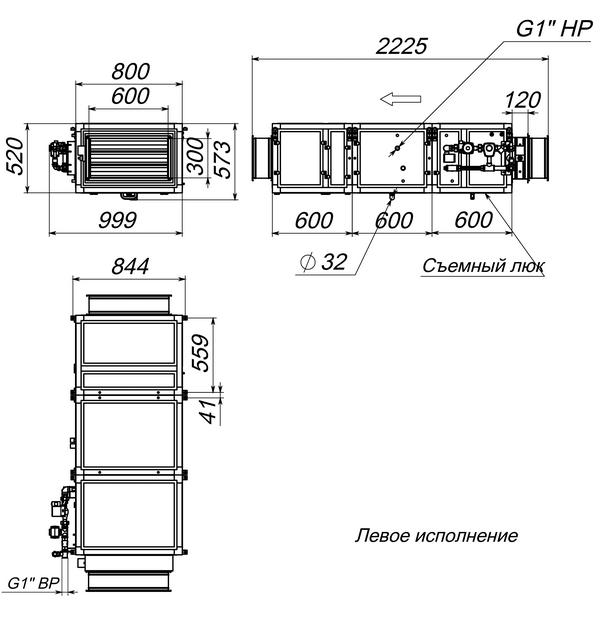 Габаритные и присоединительные размеры Breezart 3700 Aqua W