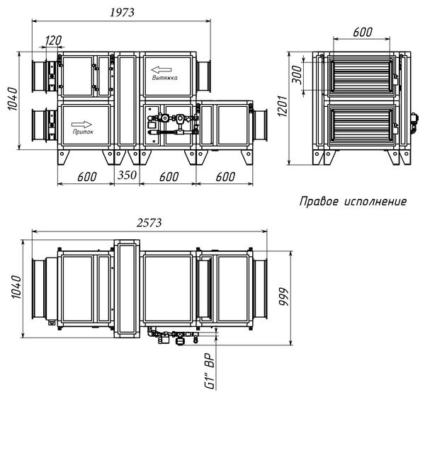 Габаритные и присоединительные размеры Breezart 3700 Aqua RR