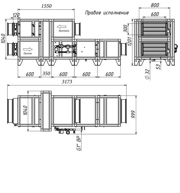 Габаритные и присоединительные размеры Breezart 3700 Aqua RR F