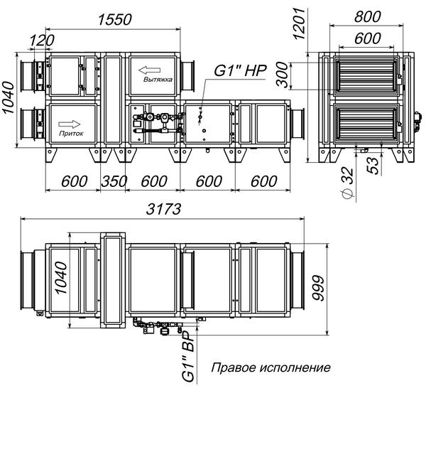 Габаритные и присоединительные размеры Breezart 3700 Aqua RR W