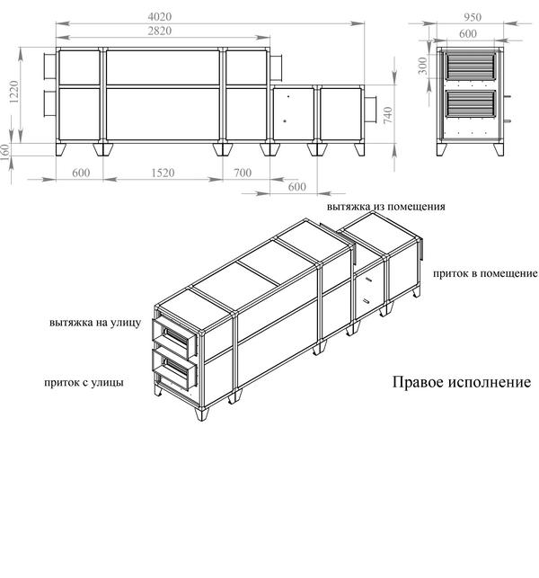 Габаритные и присоединительные размеры Breezart 3700 Lux RP W PB