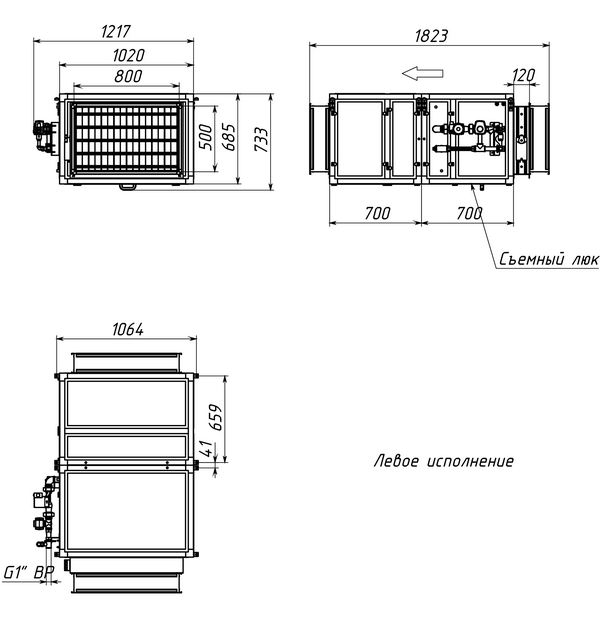 Габаритные и присоединительные размеры Breezart 6000 Aqua