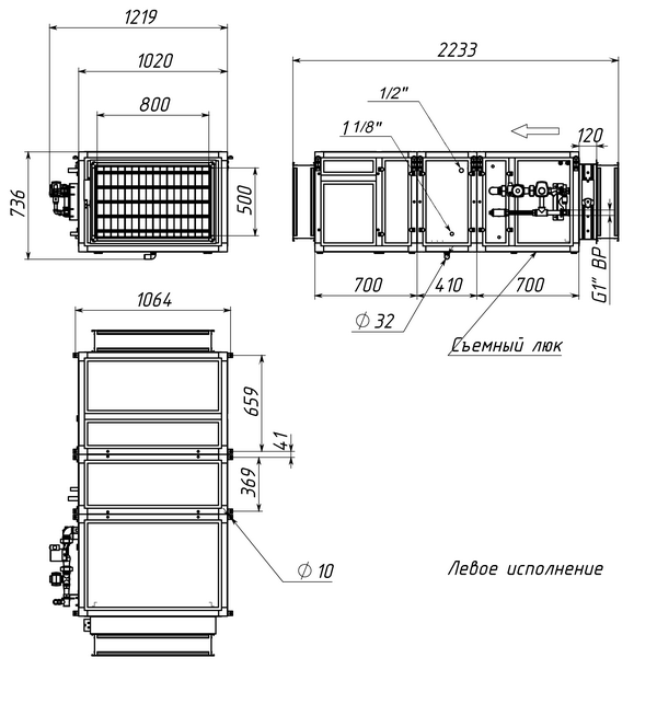 Габаритные и присоединительные размеры Breezart 4500 Aqua F