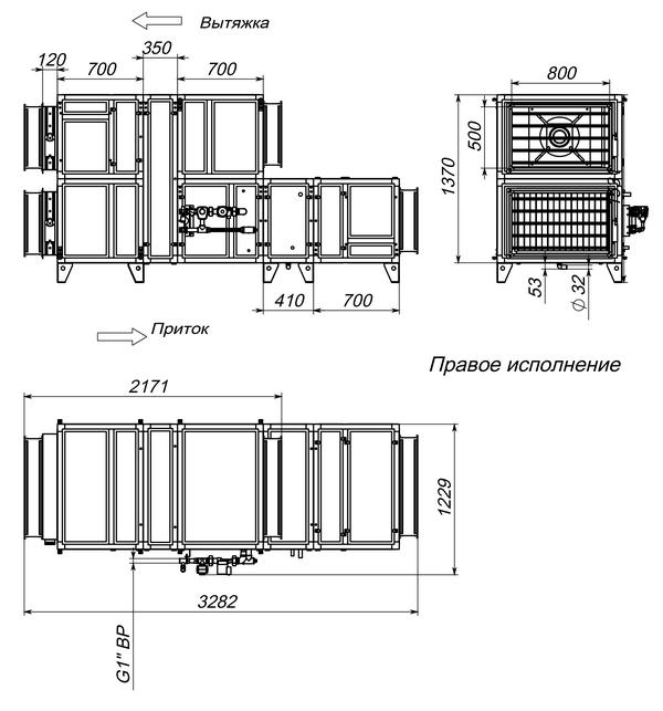 Габаритные и присоединительные размеры Breezart 4500 Aqua RR W