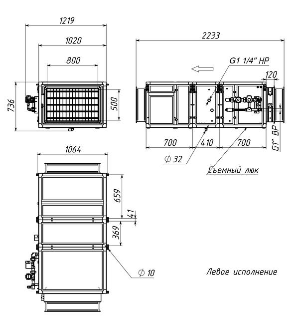Габаритные и присоединительные размеры Breezart 4500 Aqua W