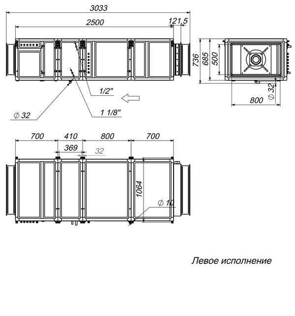 Габаритные и присоединительные размеры Breezart 6000 Lux F