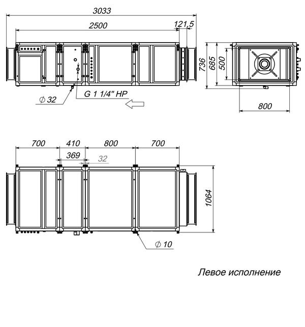 Габаритные и присоединительные размеры Breezart 4500 Lux W