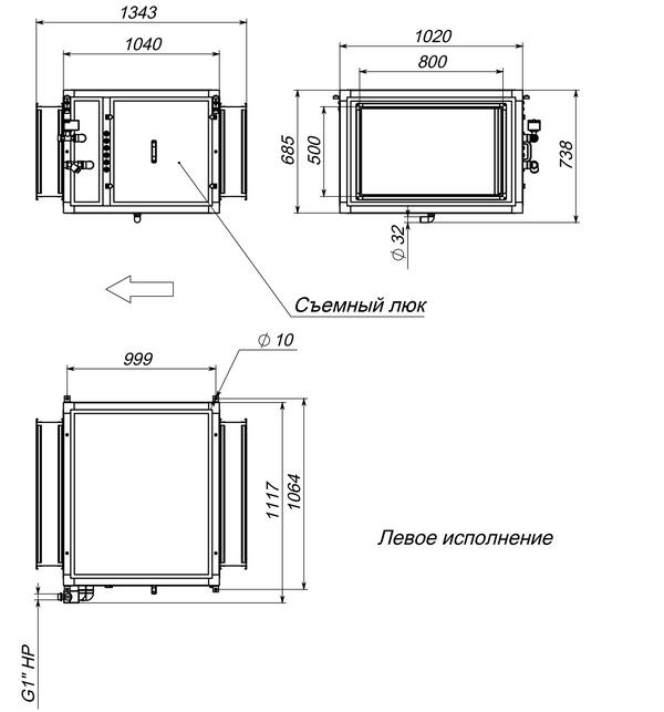 Габаритные и присоединительные размеры Breezart 6000 Humi Aqua
