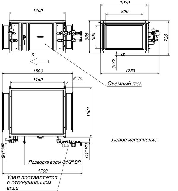 Габаритные и присоединительные размеры Breezart 6000 Humi Aqua P