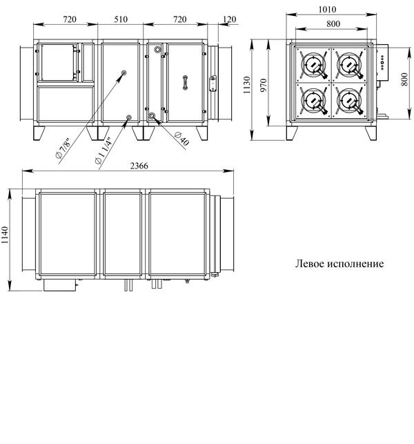 Габаритные и присоединительные размеры Breezart 8000 Aqua F