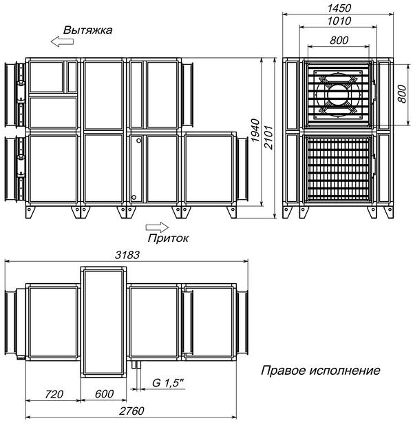 Габаритные и присоединительные размеры Breezart 8000 Aqua RR