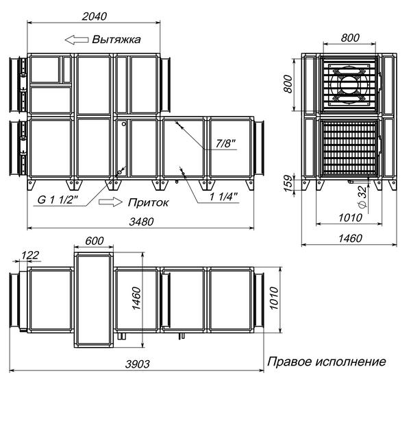 Габаритные и присоединительные размеры Breezart 8000 Aqua RR F