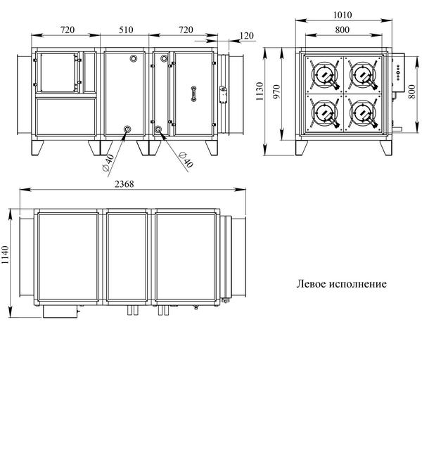 Габаритные и присоединительные размеры Breezart 8000 Aqua W
